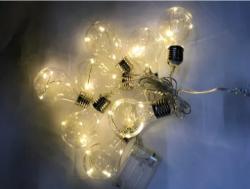 Cordão 8 Lâmpadas  40 leds Warm pilha+USB (fonte não inclusa)