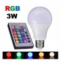 Lâmpada Led Bulbo RGB  3w      Controle Remoto