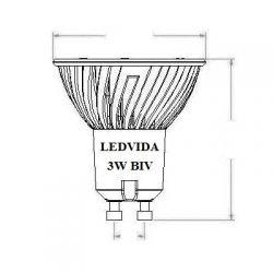 Lâmpada Led MR16 3W   Biv            (Dicroica) GU10
