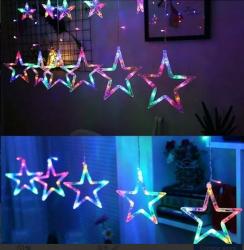 Cascata Estrela Led Natal Varias Cores Decoração 8 Funções
