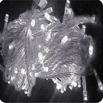 Cordão Pisca Externo Fixo 100 Led Branco Frio - Fio Cristal Macho e Femia 10 metros