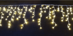 Cascata Sequencial com 400 LEDs Fio Branco 10 Metros Branco Quente Natal